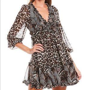 Betsy Johnson Animal Print V-Neck Ruffle Hem Dress